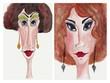 Portraits. Watercolours on paper