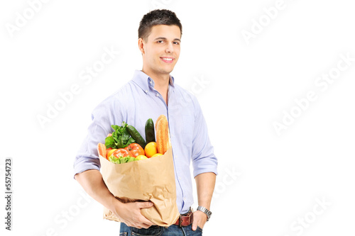 Guy holding a shopping bag