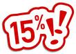 15% Prozent Button rot  #130901-svg10