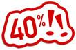 40% Prozent Rabatt Button rot  #130901-svg14