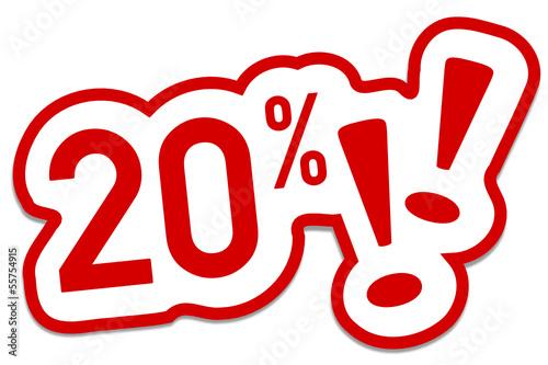 20% Prozent  Rabatt Button rot  #130901-svg11