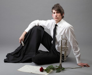 Portrait young man enamoured love Trumpet