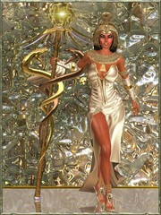 Imperial Goddess standing with double snake scepter