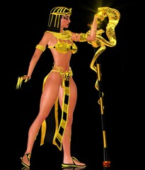 Magic snake and Egyptian woman in gold
