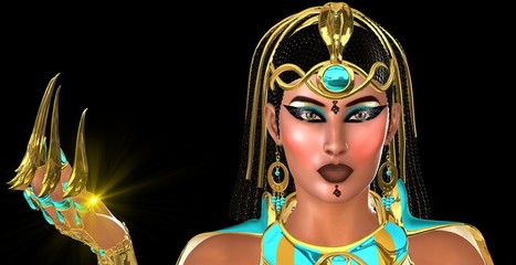 Mystic Egyptian Woman Face Close Up