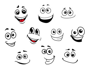 Funny cartoon emotional faces set