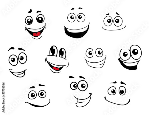 Funny cartoon emotional faces set