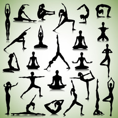 Yoga set of people