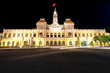 The City Hall of Ho Chi Minh City in Vietnam at night.