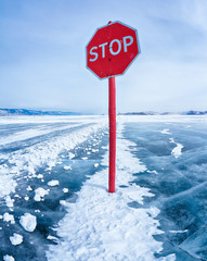 Stop traffic sign on Baikal