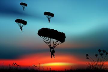 Parashutist on the sky