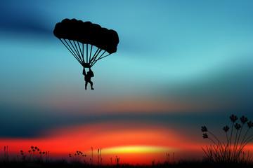Sportsman-parashutist on a Sky