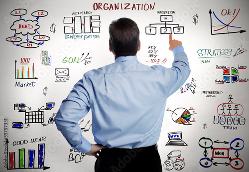 Businessman and business organisation scheme.