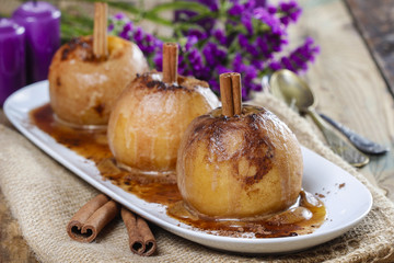 Caramel apples on white plate