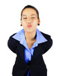 Isolated Young Business Woman with Kissing Posture