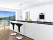 Modern white kitchen interior with nice view