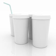 white plastic fast food glasses with blue tubule