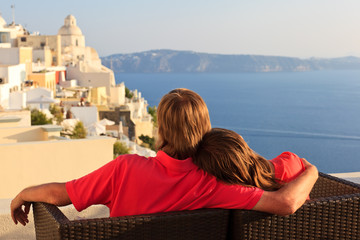 couple on vacation in Santorini, Greece