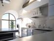 Modern kitchen interior in a sunny light room