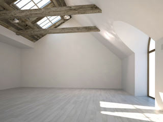 Empty white room with large windows and wooden beam