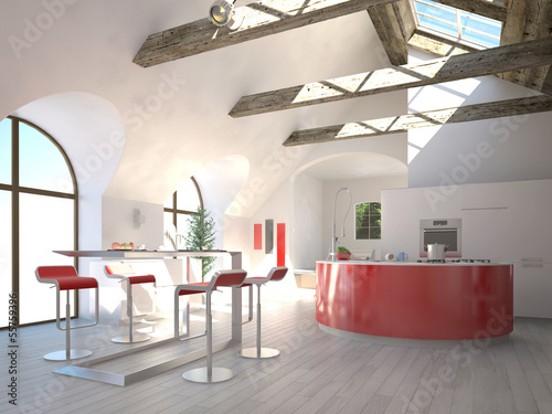 Modern red kitchen interior in a sunny light room