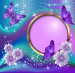 Round frame, flowers and butterflies