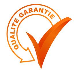 qualité garantie sur symbole validé orange