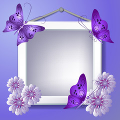 Photo frame with flowers and butterflies