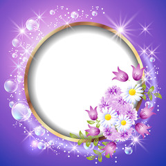 Round frame and flowers