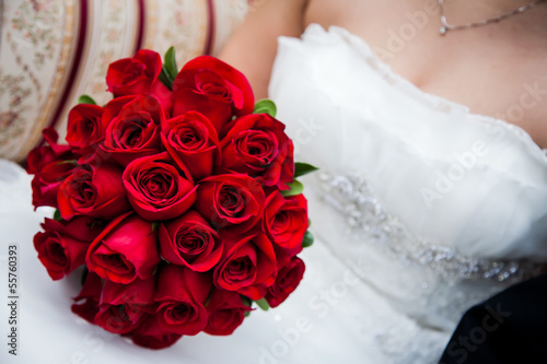 canvas print picture Bride Holding Red Rose Bouquet