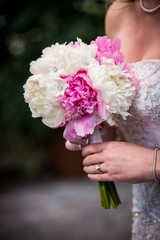 Beautiful White & Pink Bouquet Held by Wedding