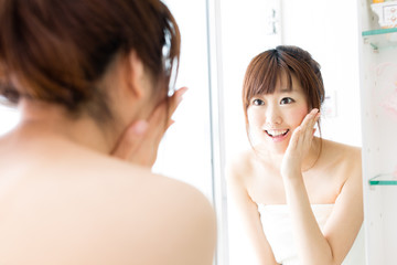 beautiful asian woman skin care image