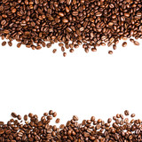 Coffee beans isolated on white background with copyspace for te