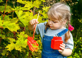 little girl paint colors on the leaves of the tree