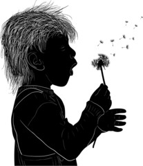 isolated small girl blowing on dandelion