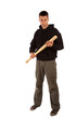 Angry man with baseball bat