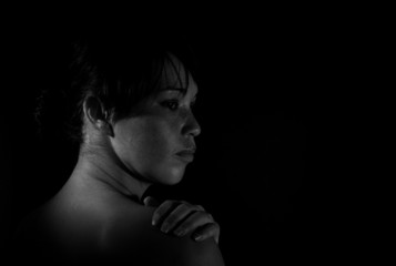 Depressed woman in black and white