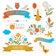 set of graphic elements, bouquets