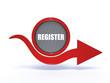 register arrow icon on white background