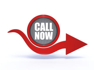 call now arrow icon on white background