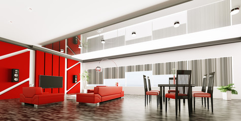 Interior of modern apartment panorama