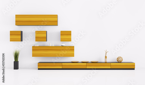Living room with shelves 3d render