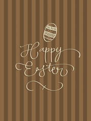 Hand-written Happy Easter with easter egg. EPS Vector file