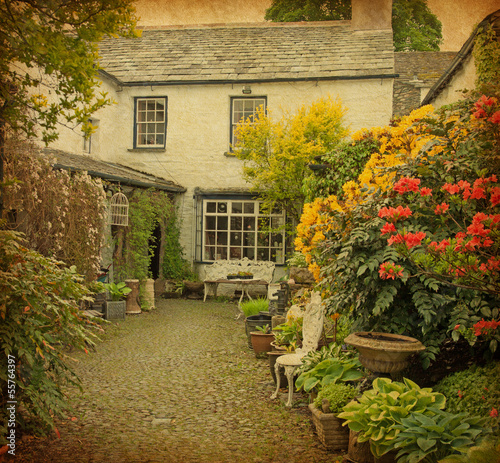 garden at the front of  old house, Lake District, UK.