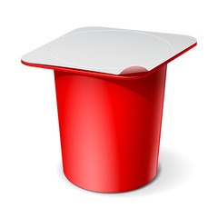 Red Realistic plastic container for yogurt. Vector