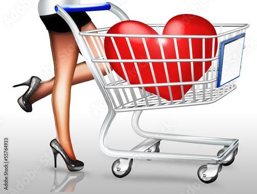 Frau mit Einkaufskorb und roten Herz