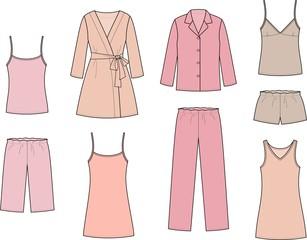 Vector illustration of women's sleepwear
