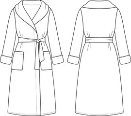 Vector fashion illustration of bathrobe