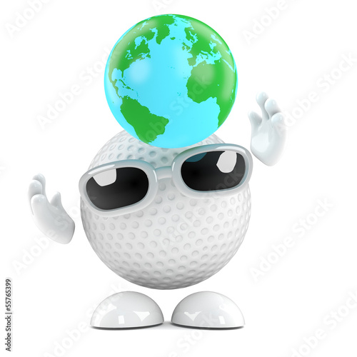 Golfball catches a globe