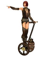 Steampunk Mädchen auf einen Transporter